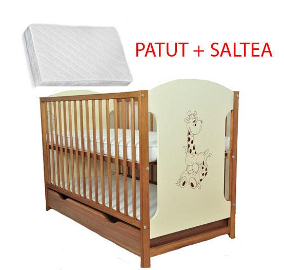 Patut Din Lemn Giraffe Natur + Saltea Cocos