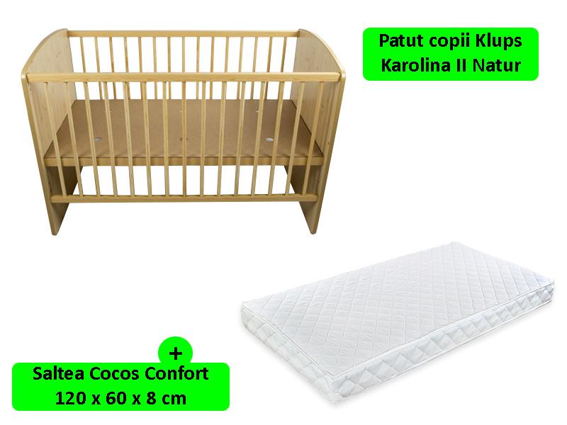 Patut fara sertar KLUPS Karolina II Natur + Saltea 8 MyKids Confort II