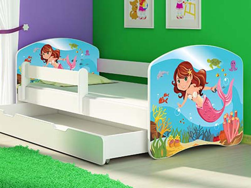 Patut Tineret MyKids Mermaid cu Sertar si Saltea 140x70 imagine