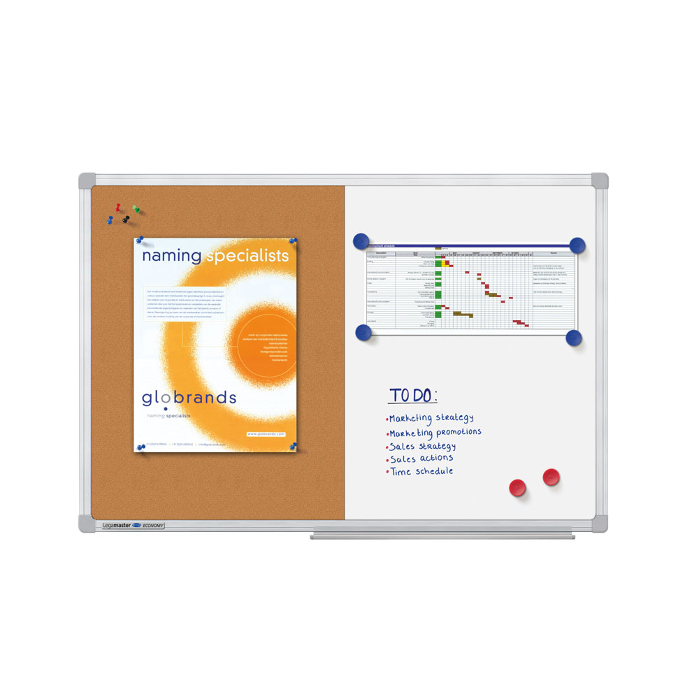 Tabla combiboard Legamaster economy rama aluminiu 60x90cm imagine