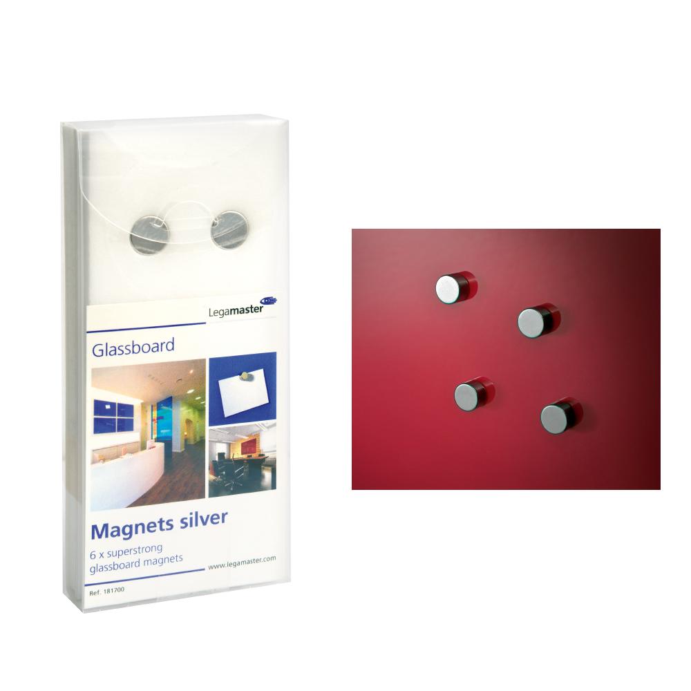 Legamaster Set 6 magneti pentru tabla din sticla culoare gri
