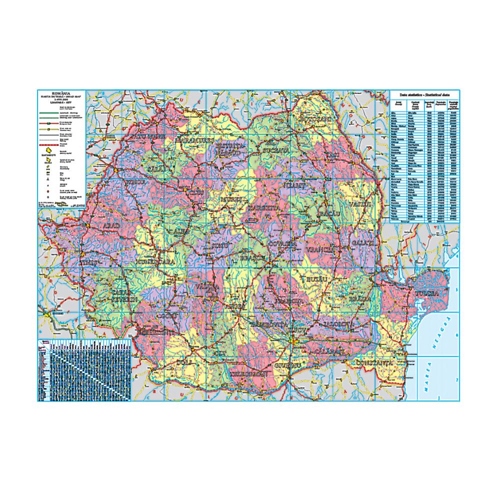Harta Romania administrativa-rutiera-turistica 100x140 supra