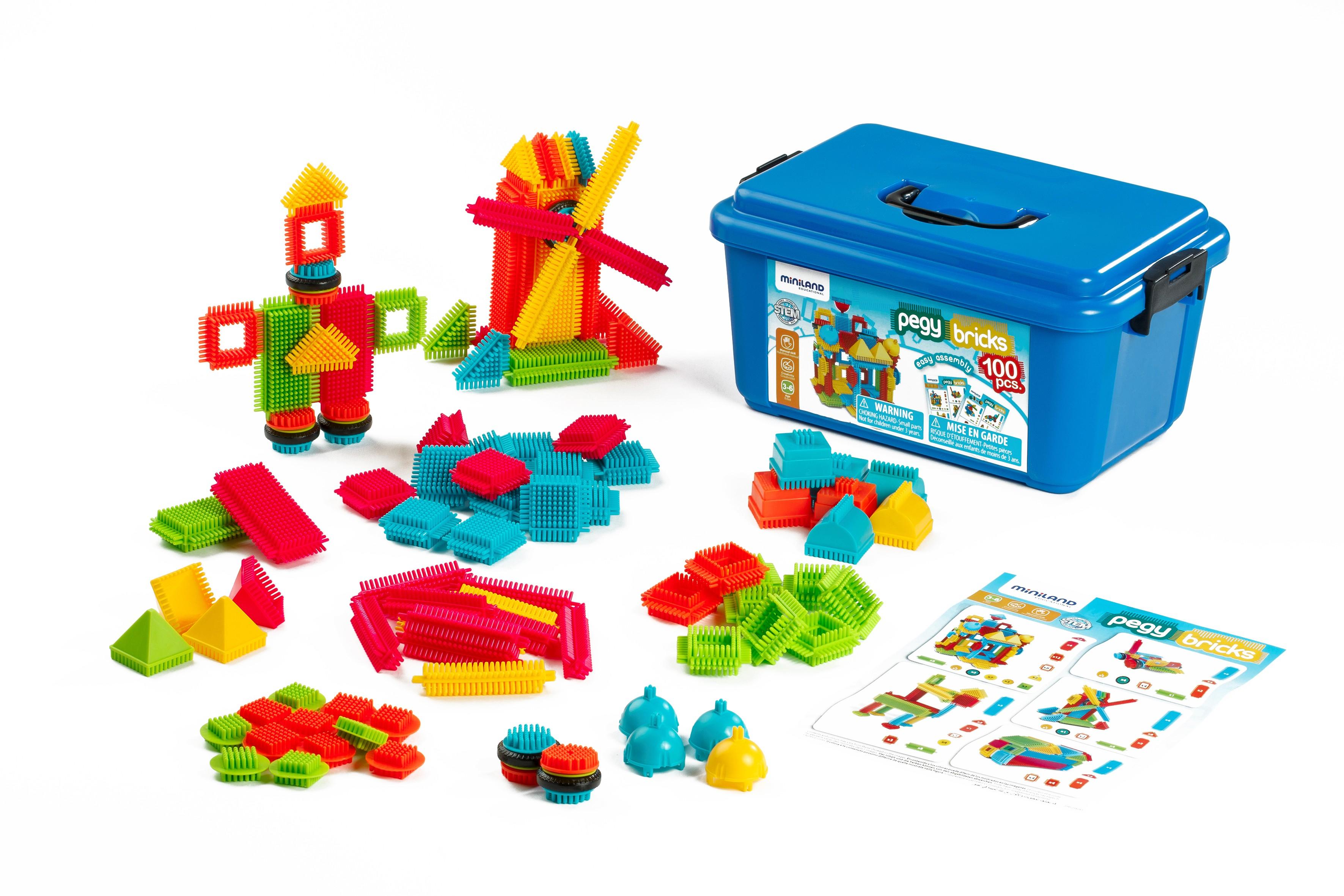 Joc de constructii Pegy Bricks 100 Miniland