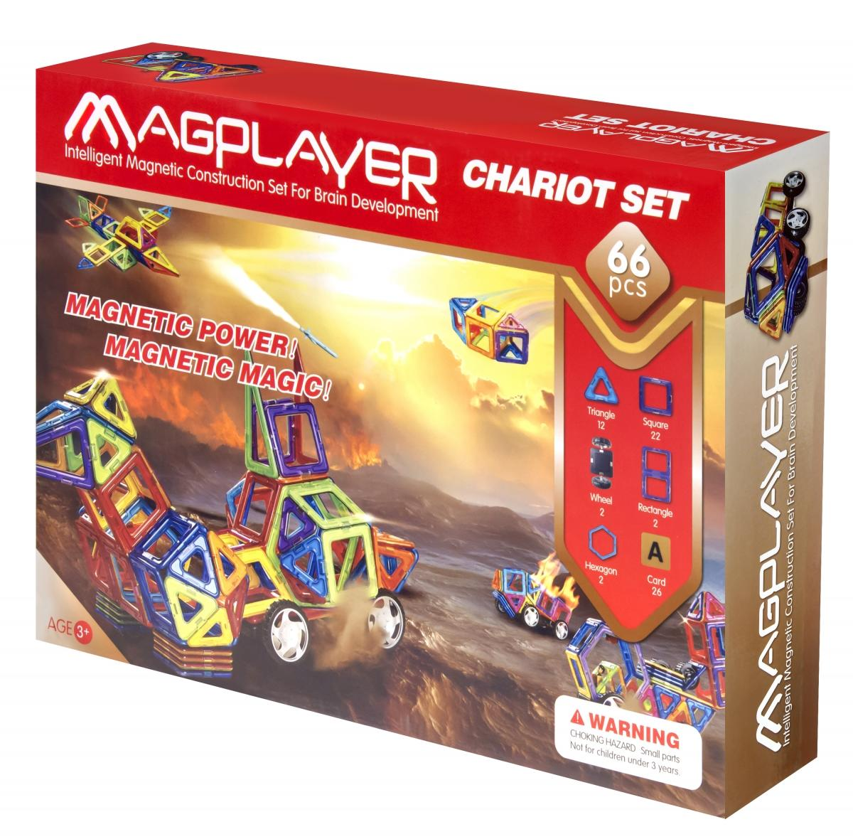 Set de constructie magnetic – 66 piese