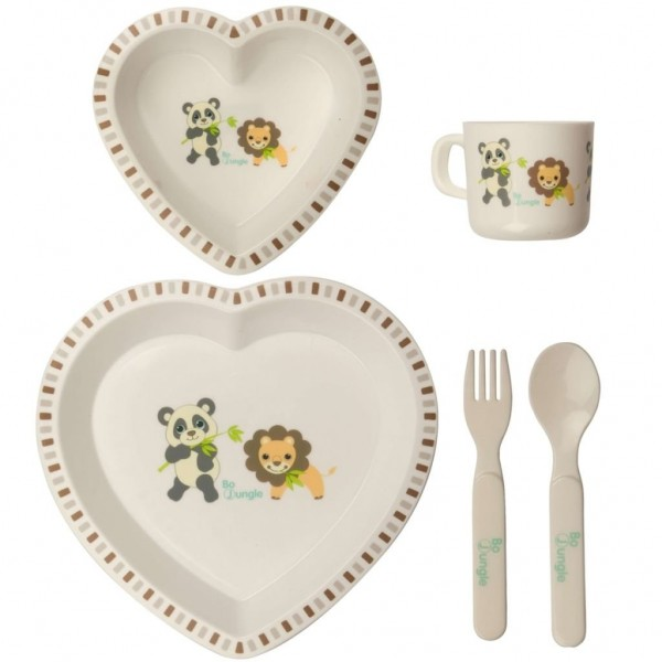 Set cina pentru bebelusi Panda si Leu in forma de inima Bo Jungle imagine