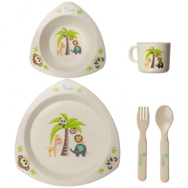 Set cina pentru bebelusi Prietenii Junglei in forma triunghiulara Bo Jungle imagine