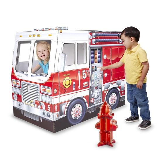 Casuta din carton Camionul de pompieri Melissa and Doug imagine