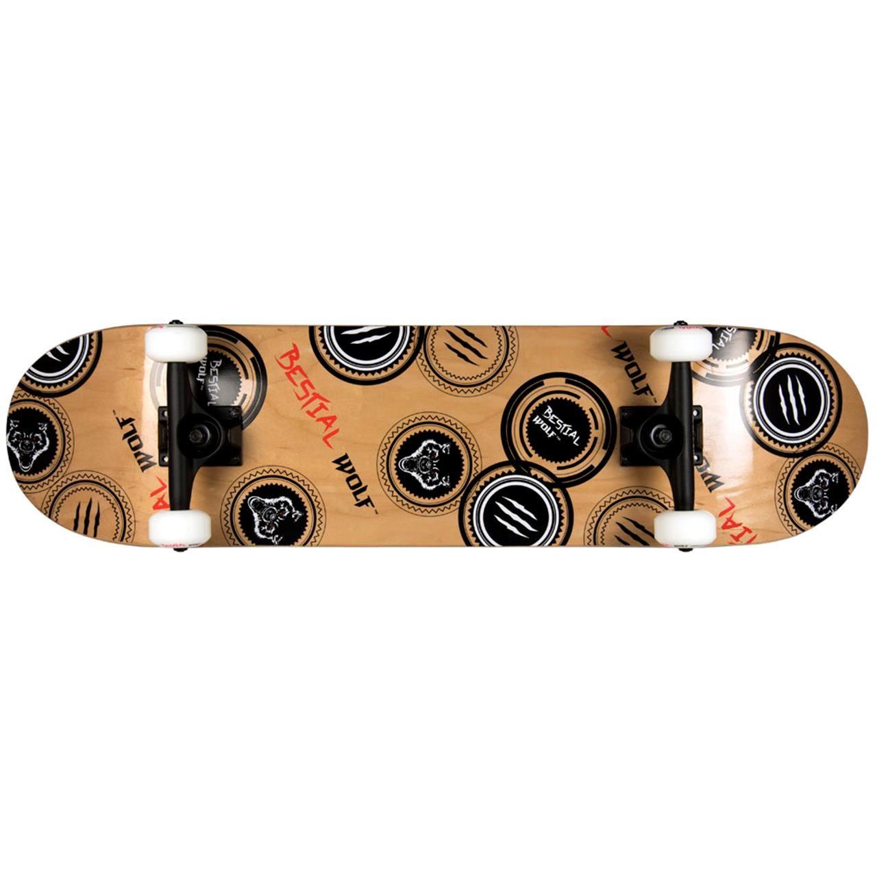 Skateboard Bestial Wolf Madness HGH PRO cu 7 straturi din lemn de artar Canadian