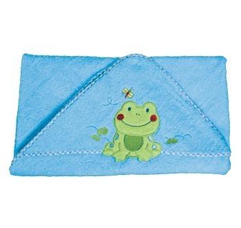 BabyOno Prosop special pentru bebelusi cu gluga 100x100 cm - albastru cu broscuta 172/03