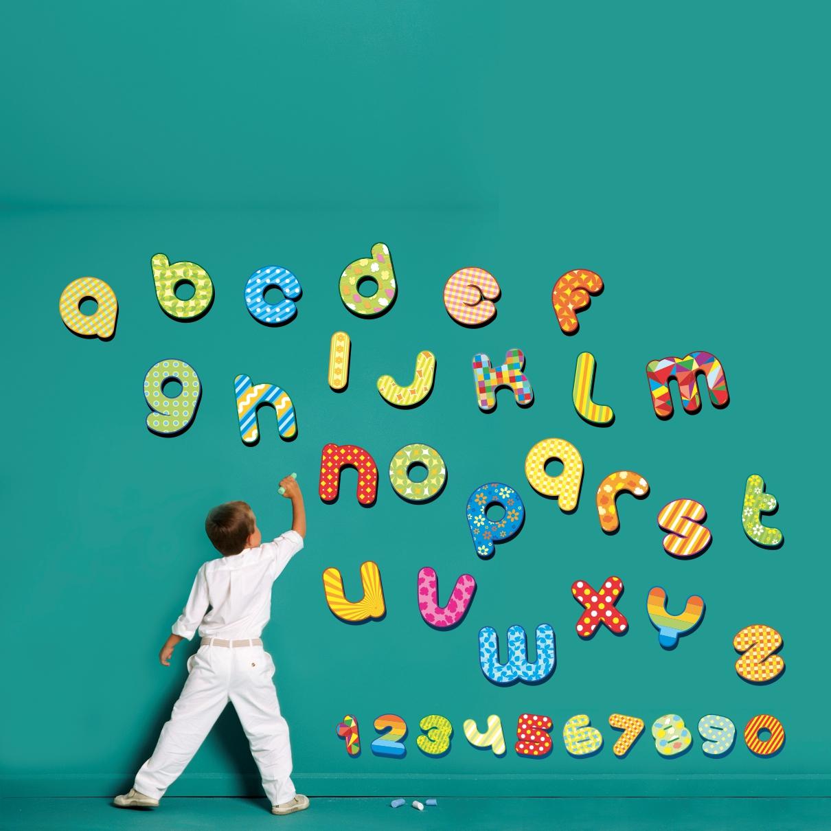 Stickere perete copii alfabet si cifre - 150 x 136 cm imagine
