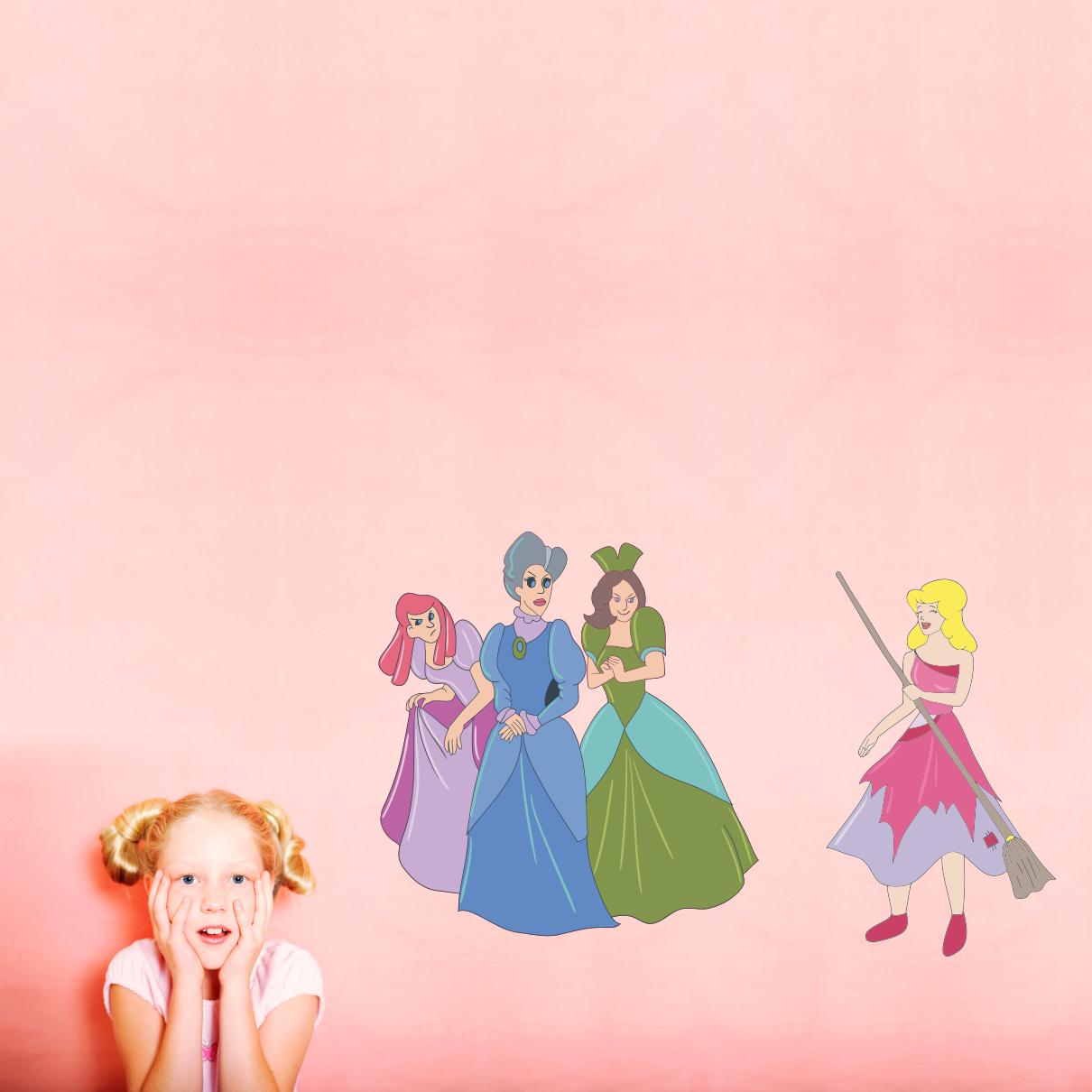 Stickere perete copii Cenusareasa si surorile - 125 x 87 cm imagine