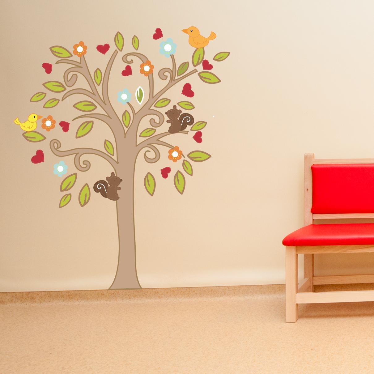 Stickere perete copii Copacel cu animalute - 107 x 130 cm imagine