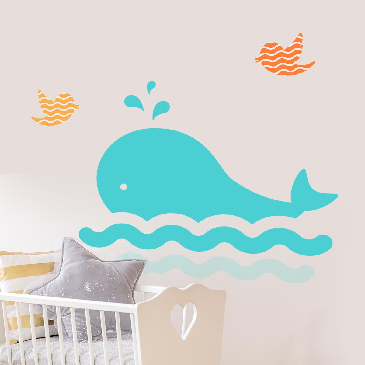 Stickere perete copii Cute Whale - 100 x 37 cm imagine
