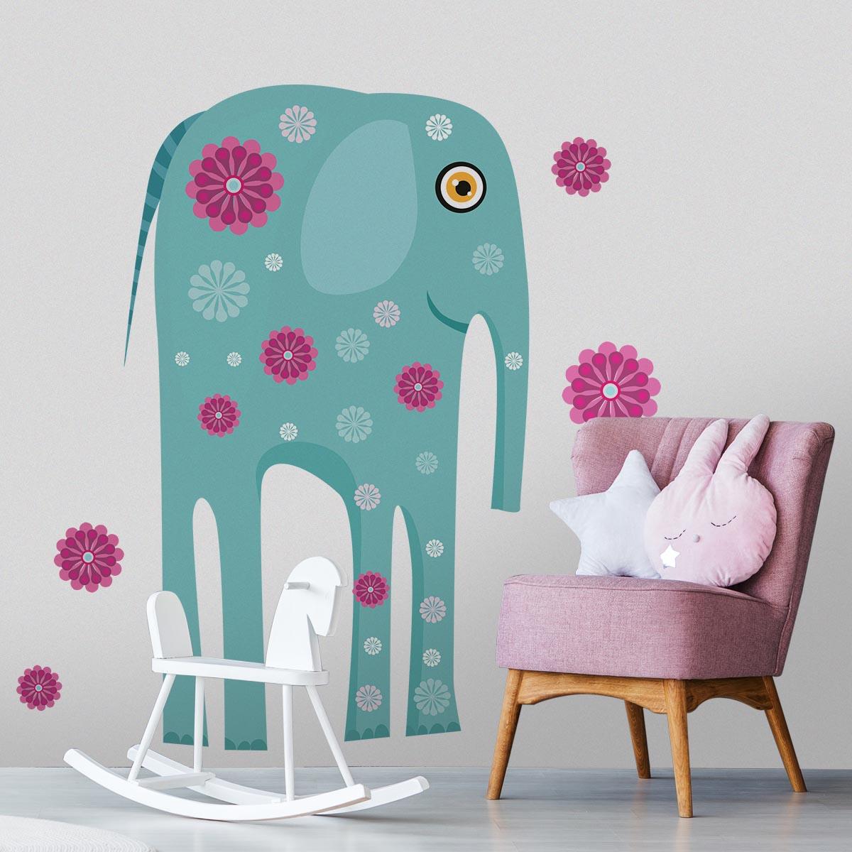 Stickere perete copii Elefant cu flori - 129 x 115 cm imagine