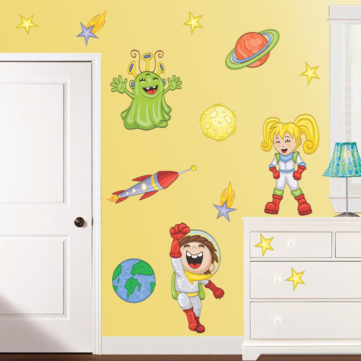 Stickere perete copii Explorand Spatiul Cosmic - 120 x 71 cm imagine