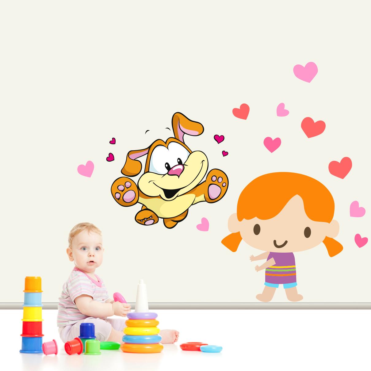 Stickere perete copii Fetita cu catelus - 130 x 70 cm imagine