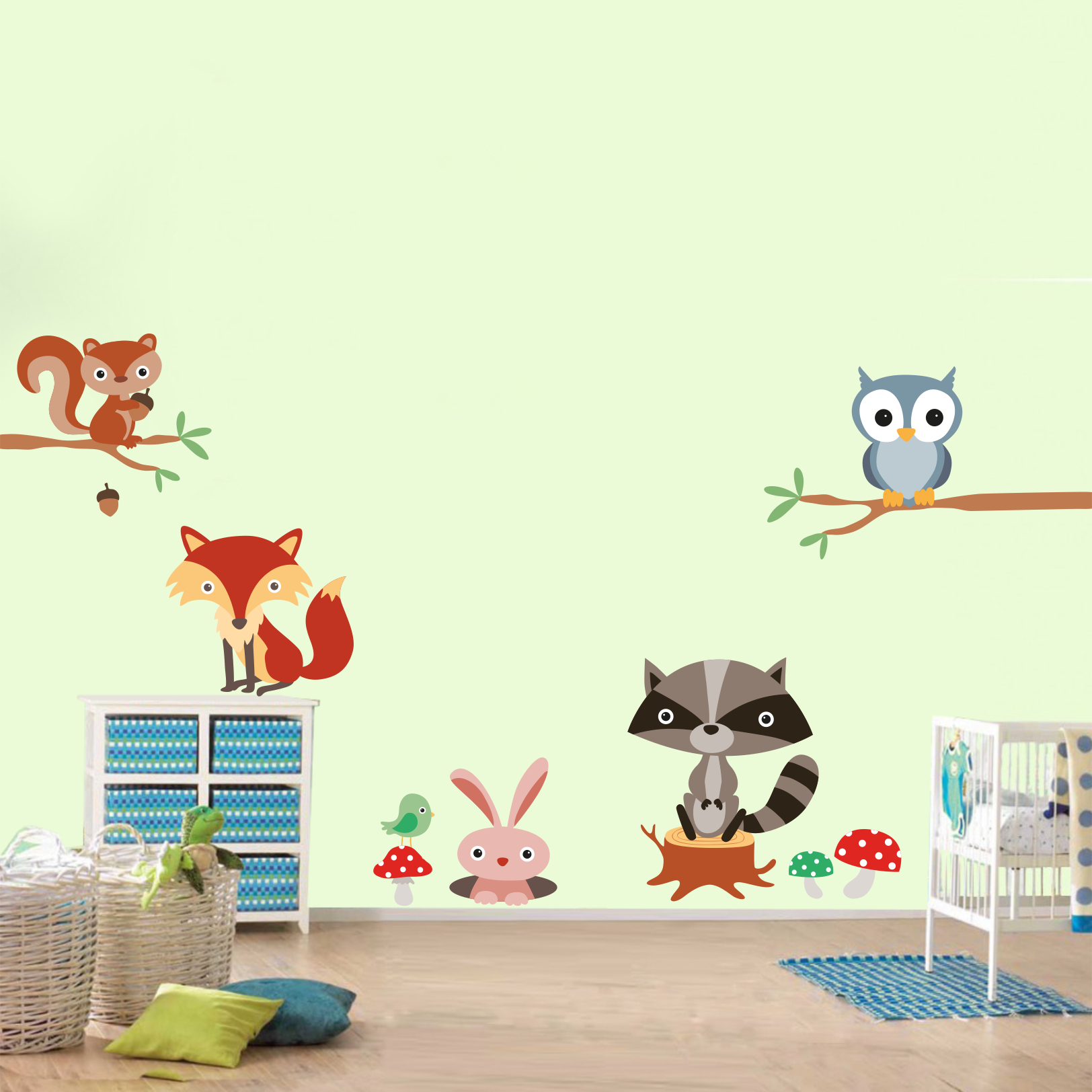 Stickere perete copii Joaca prin padure - 120x100 cm imagine