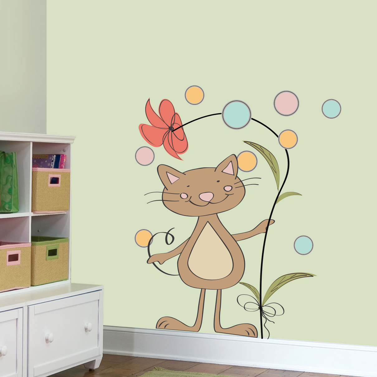 Stickere perete copii Pisica cu floare - 80 x 100 cm imagine