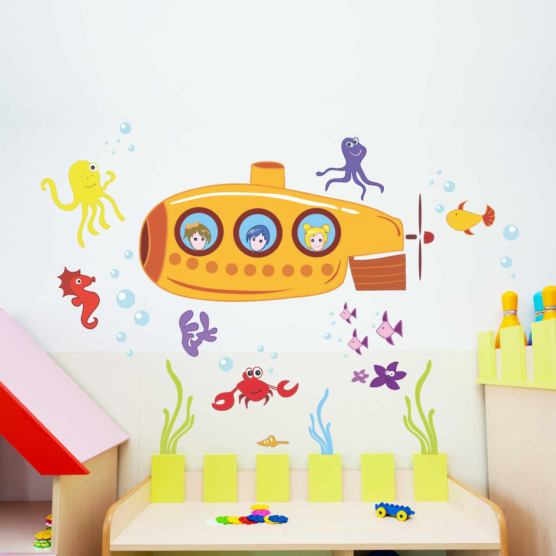 Stickere perete copii Submarin - 100 x 64 cm imagine