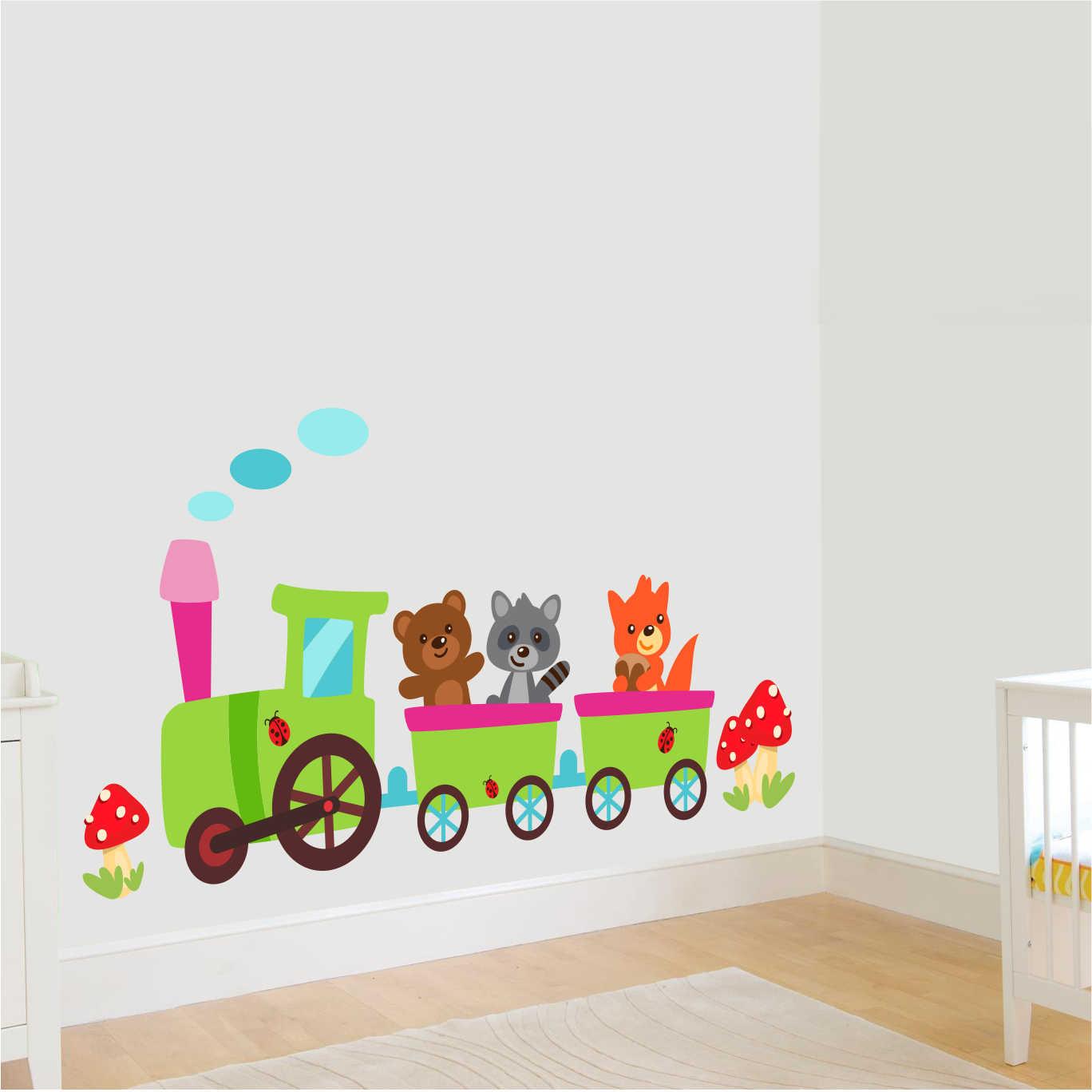 Stickere perete copii Trenulet la plimbare - 150x56 cm imagine