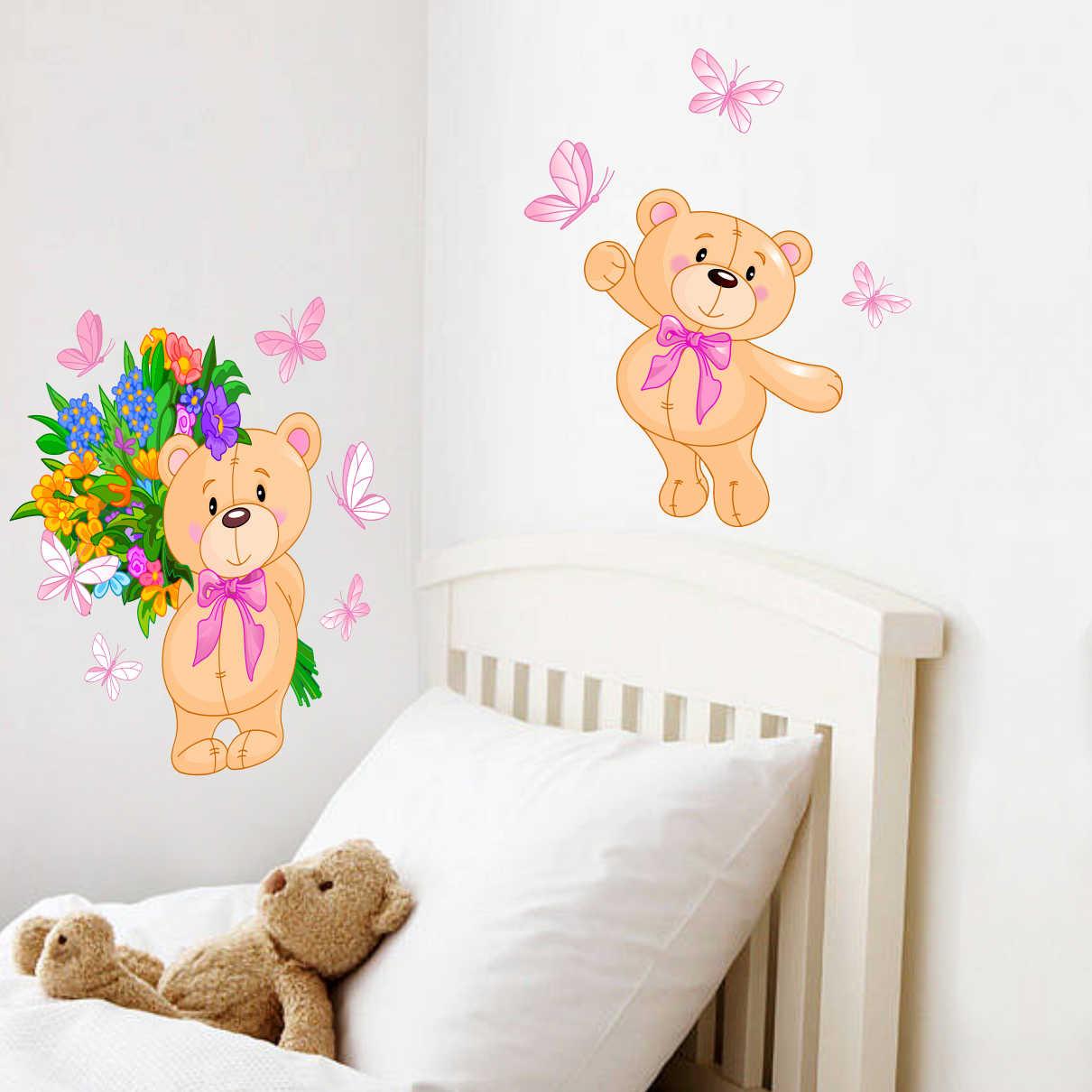 Stickere perete copii Ursulet cu flori - 78 x 45 cm imagine