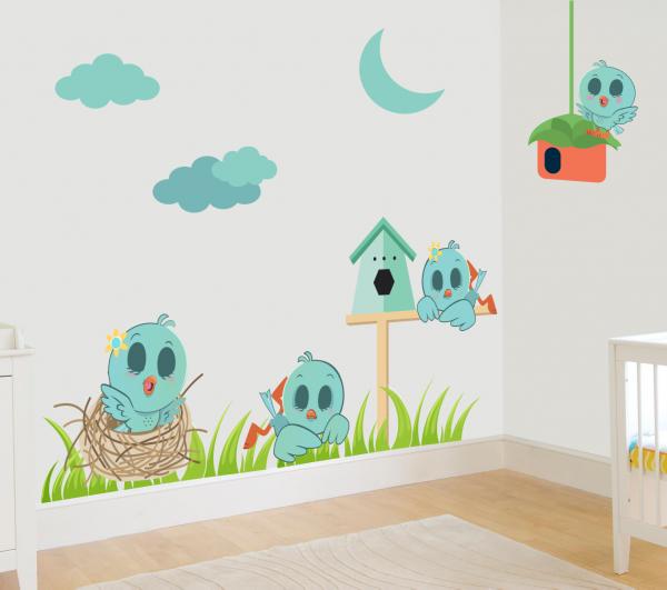 Sticker decorativ Vrabiute somnoroase - 79 x 41 cm imagine