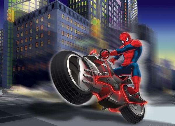 Fototapet Disney Spiderman Motociclist - 160 x 115 cm imagine