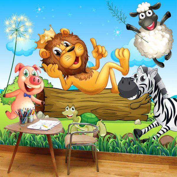 Fototapet Regele Animalelor si Prietenii - 150 x 129 cm imagine