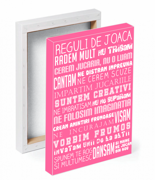 Tablou canvas reguli de joaca ROZ - 70 x 100 cm