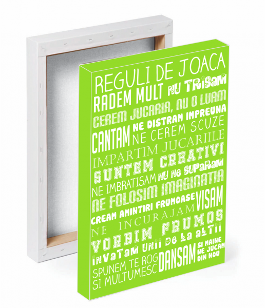 Tablou canvas Reguli de joaca VERDE - 50 x 70 cm imagine