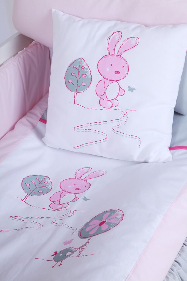 Klups Set Lenjerie 2 Piese Little Bunny Gri-pink