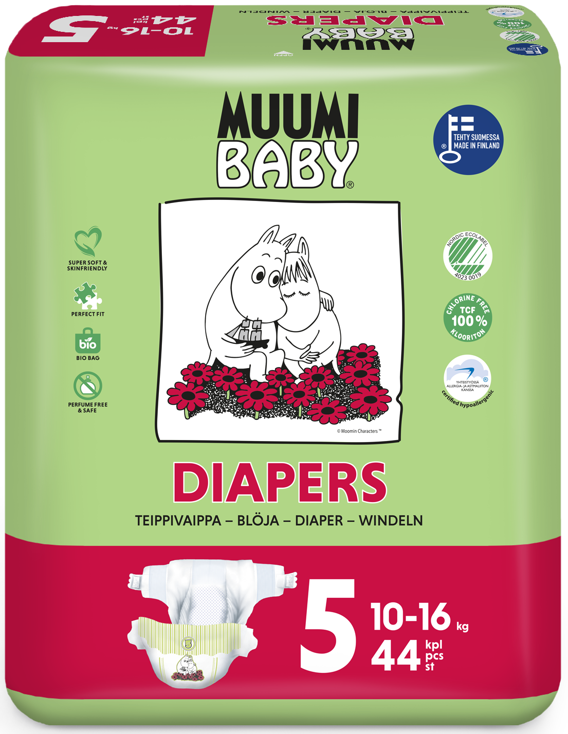 Scutece finlandeze eco Muumi Baby 5, 10 - 16 kg, 44 bucati imagine