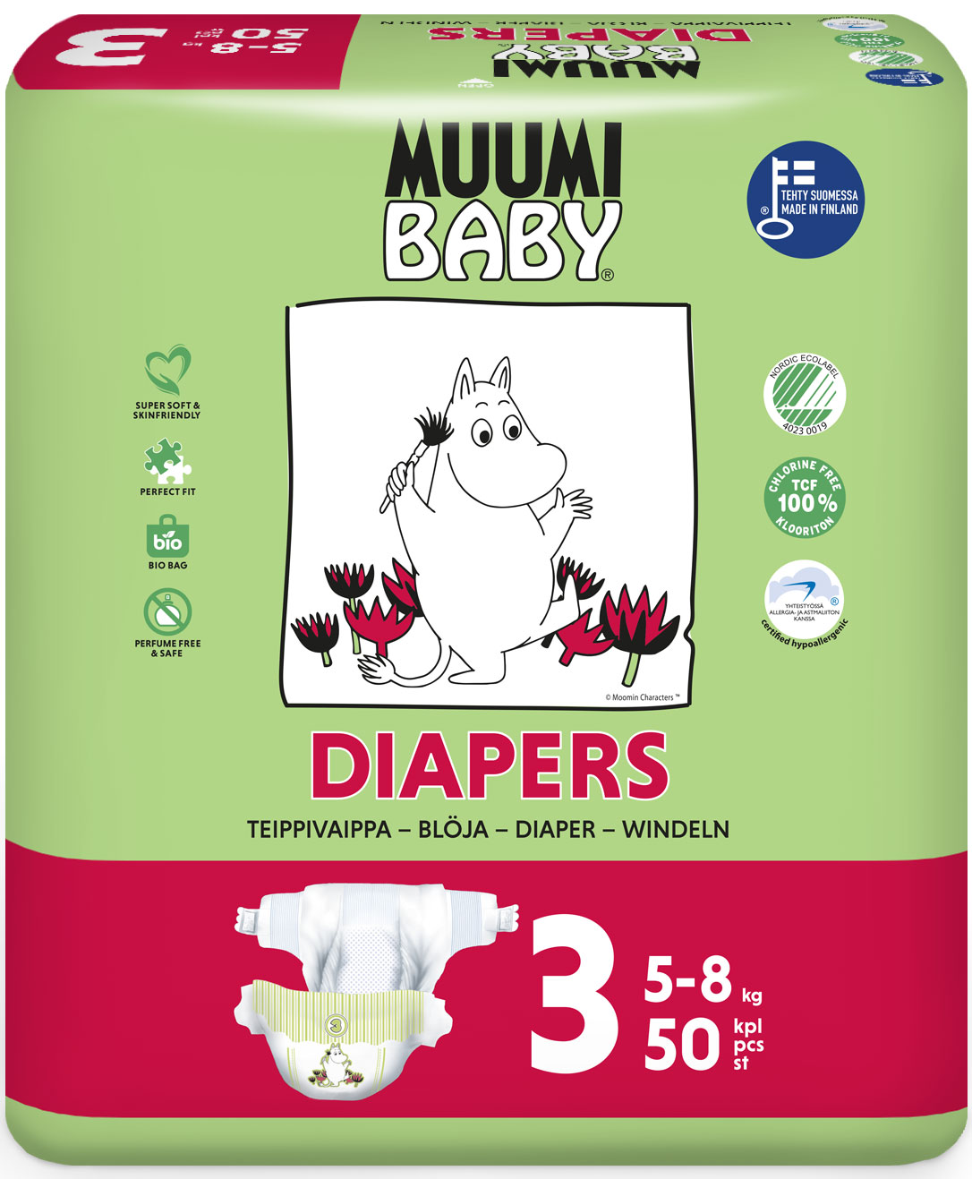 Scutece finlandeze eco Muumi Baby 3, 5-8 kg, 50 bucati imagine