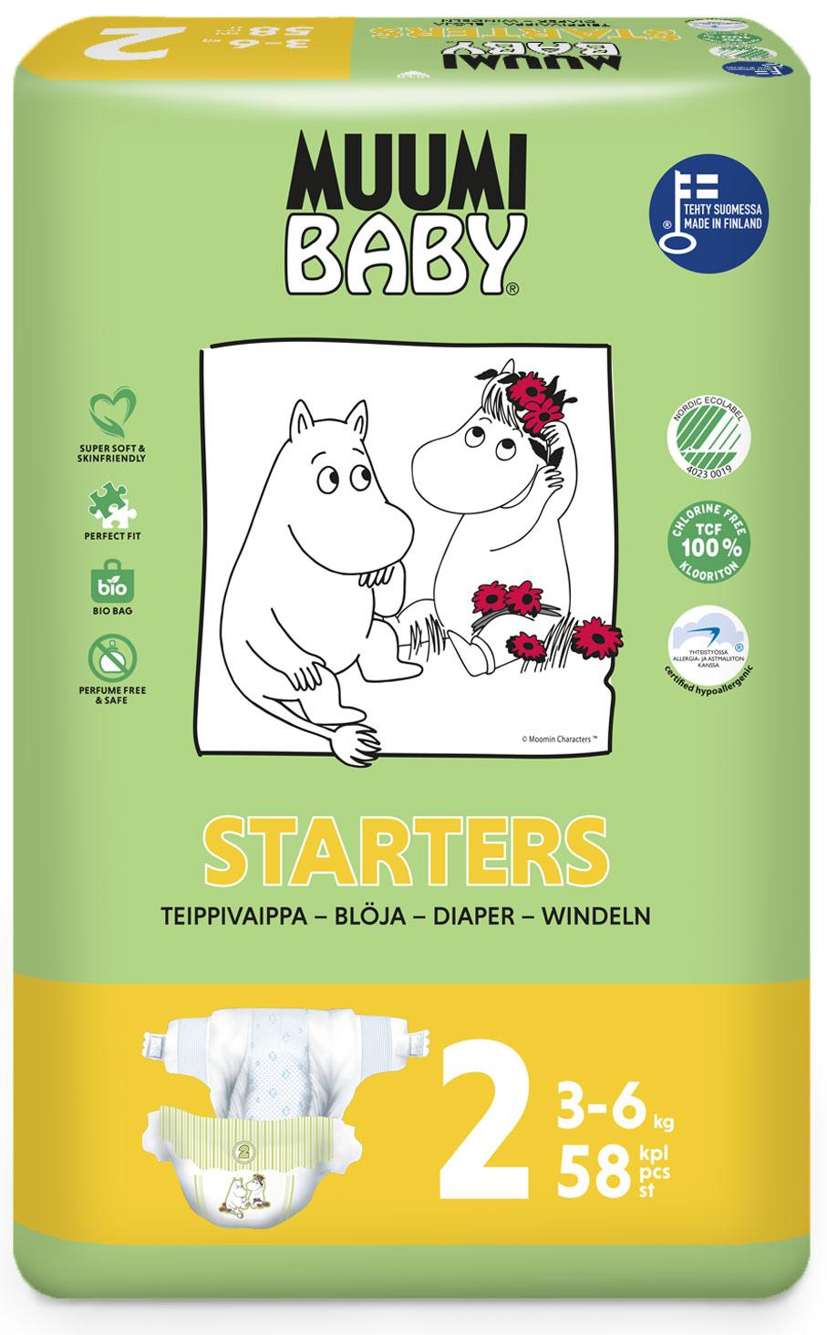 Scutece finlandeze eco Muumi Baby 2, 3-6 kg, 58 bucati imagine
