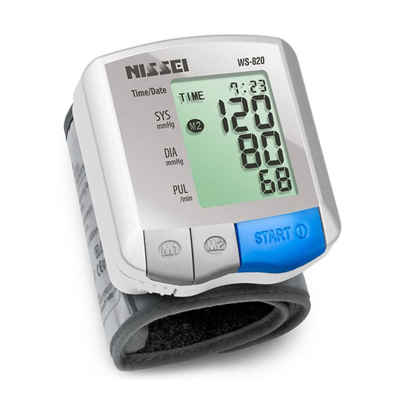 Tensiometru electronic de incheietura Nissei WS-820, afisaj LCD, memorare 2 x 60 de valori, alb/gri imagine