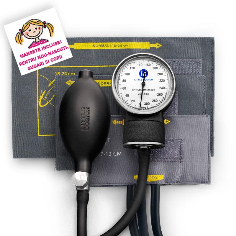 Tensiometru mecanic Little Doctor LD 80, 3 mansete, fara stetoscop imagine