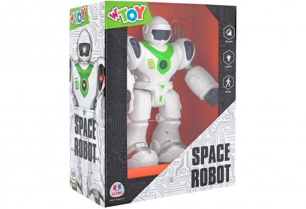 Robot cu baterii Globo sunete si lumini care merge si trage cu ventuze