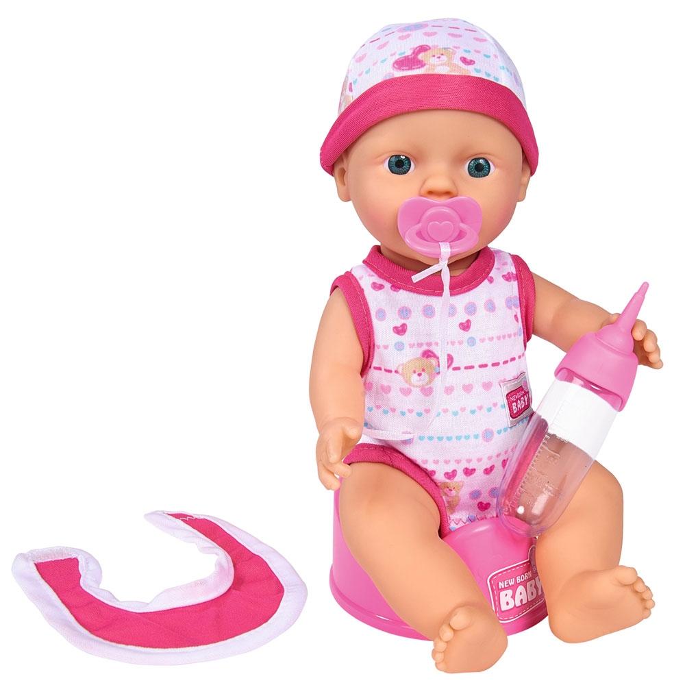 Papusa Simba New Born Baby Bebe Darling 30 cm cu olita si bavetica roz inchis