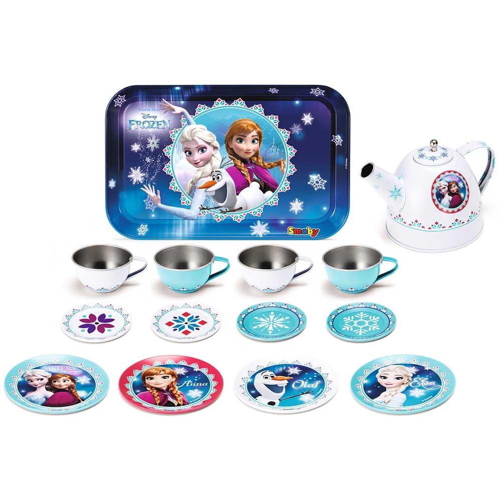 Set de servit ceaiul din metal Smoby Frozen cu 14 accesorii