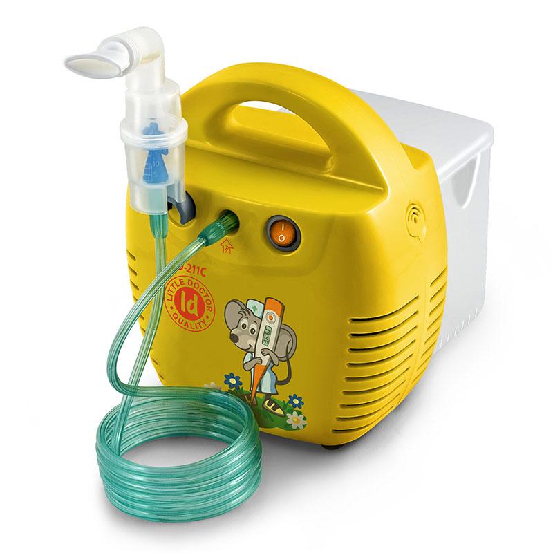 Aparat de aerosoli Little Doctor LD 211 C, cu compresor, galben, cutie pentru accesorii, 3...