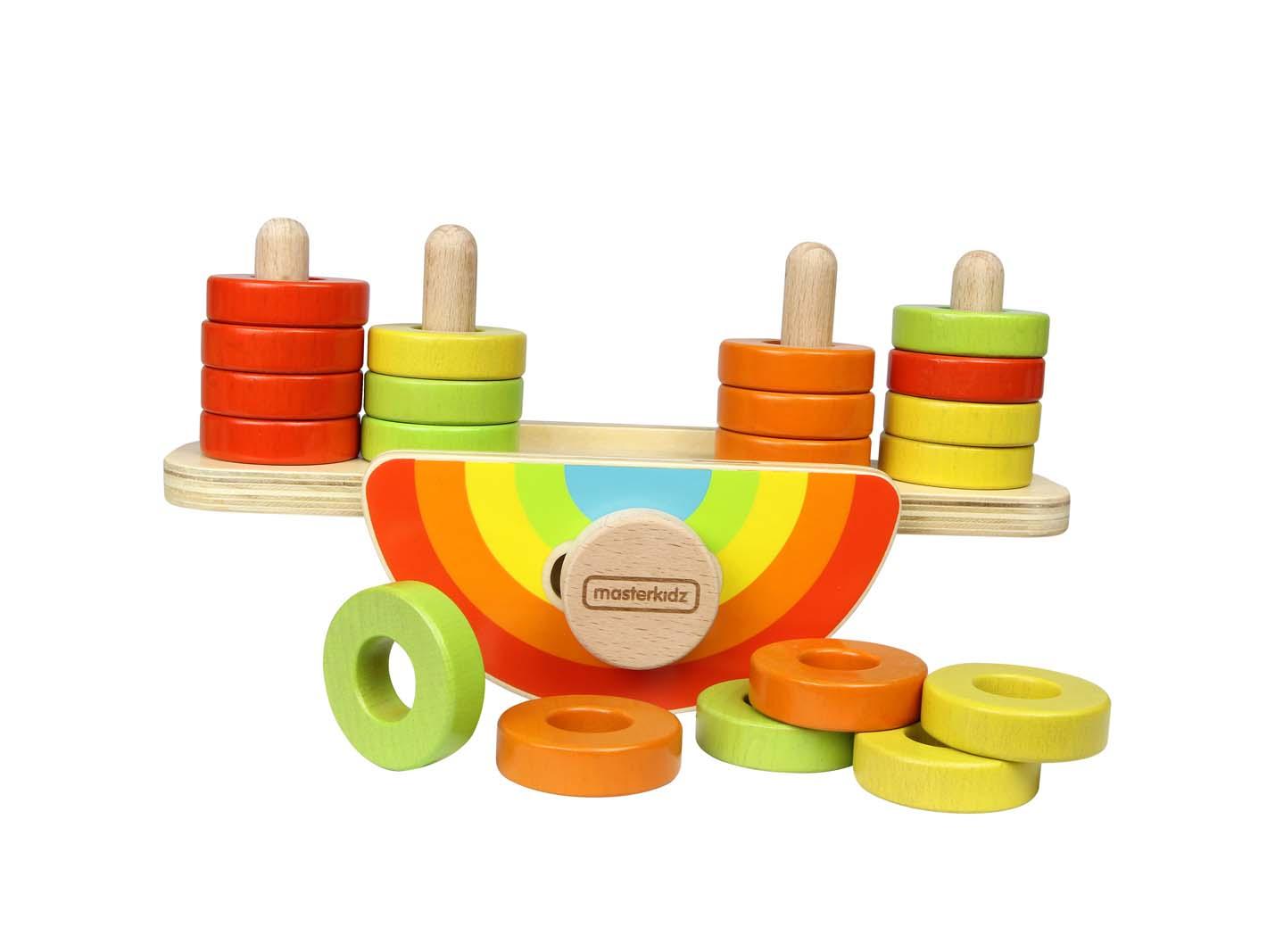 Joc de balans cu piese colorate, din lemn, +18 luni, Masterkidz imagine
