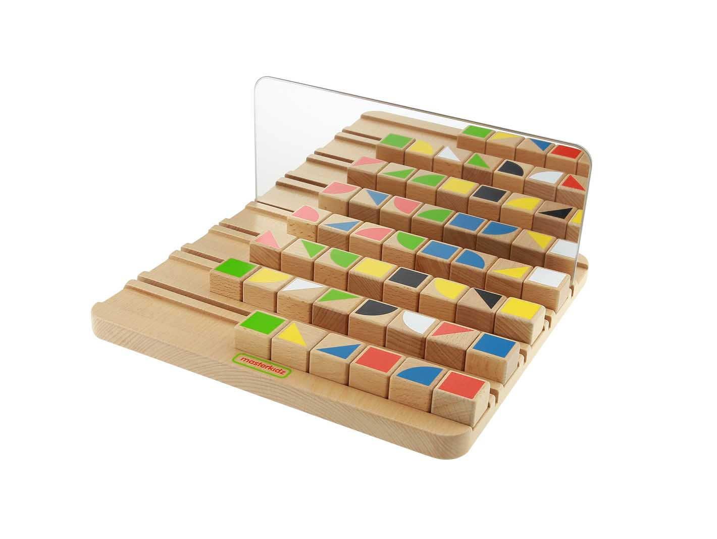 Joc educativ Cuburi in oglinda, din lemn, +3 ani, Masterkidz