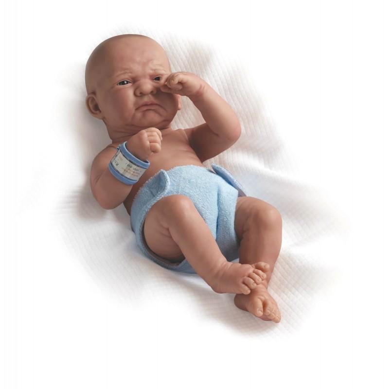 Jucarie Bebe nou-nascut baiat plangacios cu pampers 36 cm