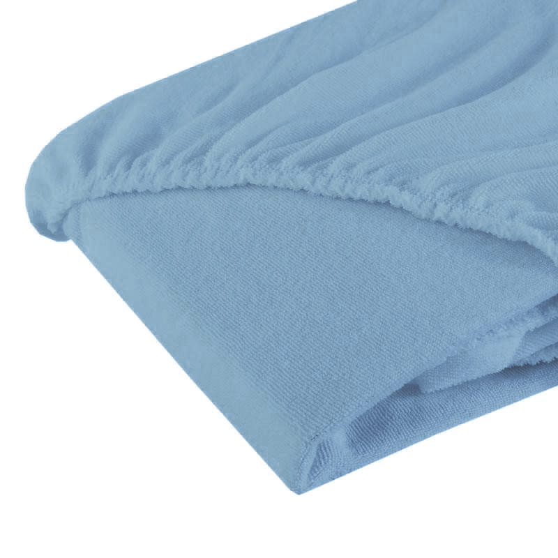 Cearsaf cu elastic din frotir bleu 120/60 cm