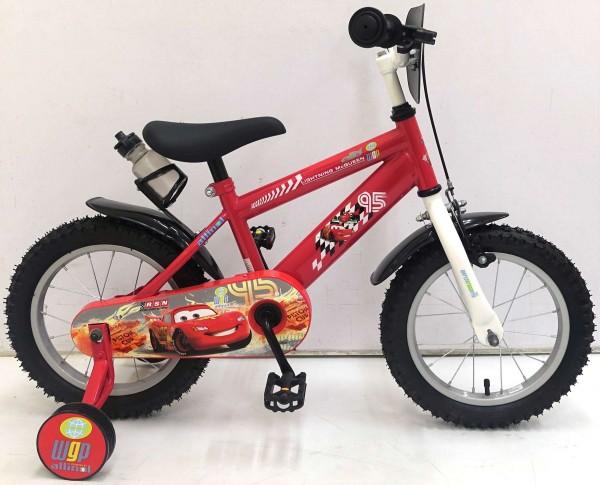 Bicicleta Volare Cars pentru baieti 14 inch cu roti ajutatoare partial montata