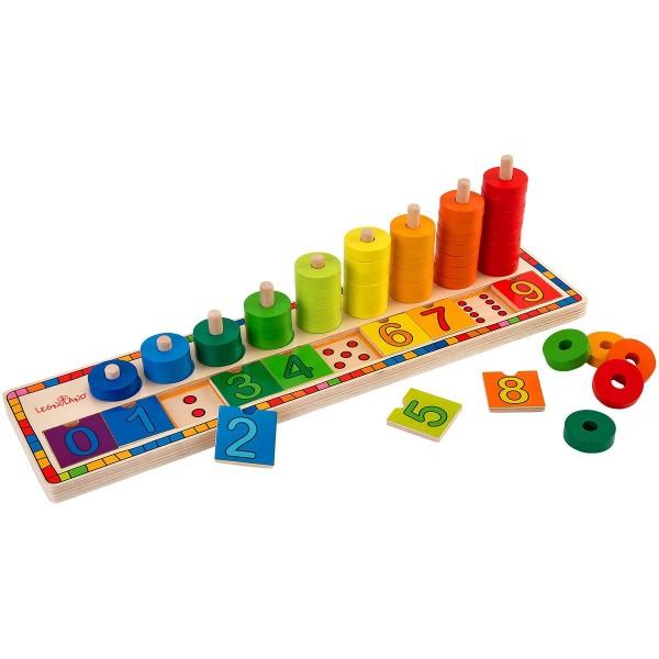 Joc creativ din lemn pentru copii Globo Legnoland tip puzzle si cerculete colorate pentru numarat