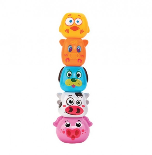 Joc de stivuit animale domestice Globo Vitamina G pentru bebelusi cu 5 forme colorate