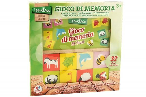 Joc educational din lemn 32 piese Globo Legnoland pentru copii asociere tip memo imagini animale