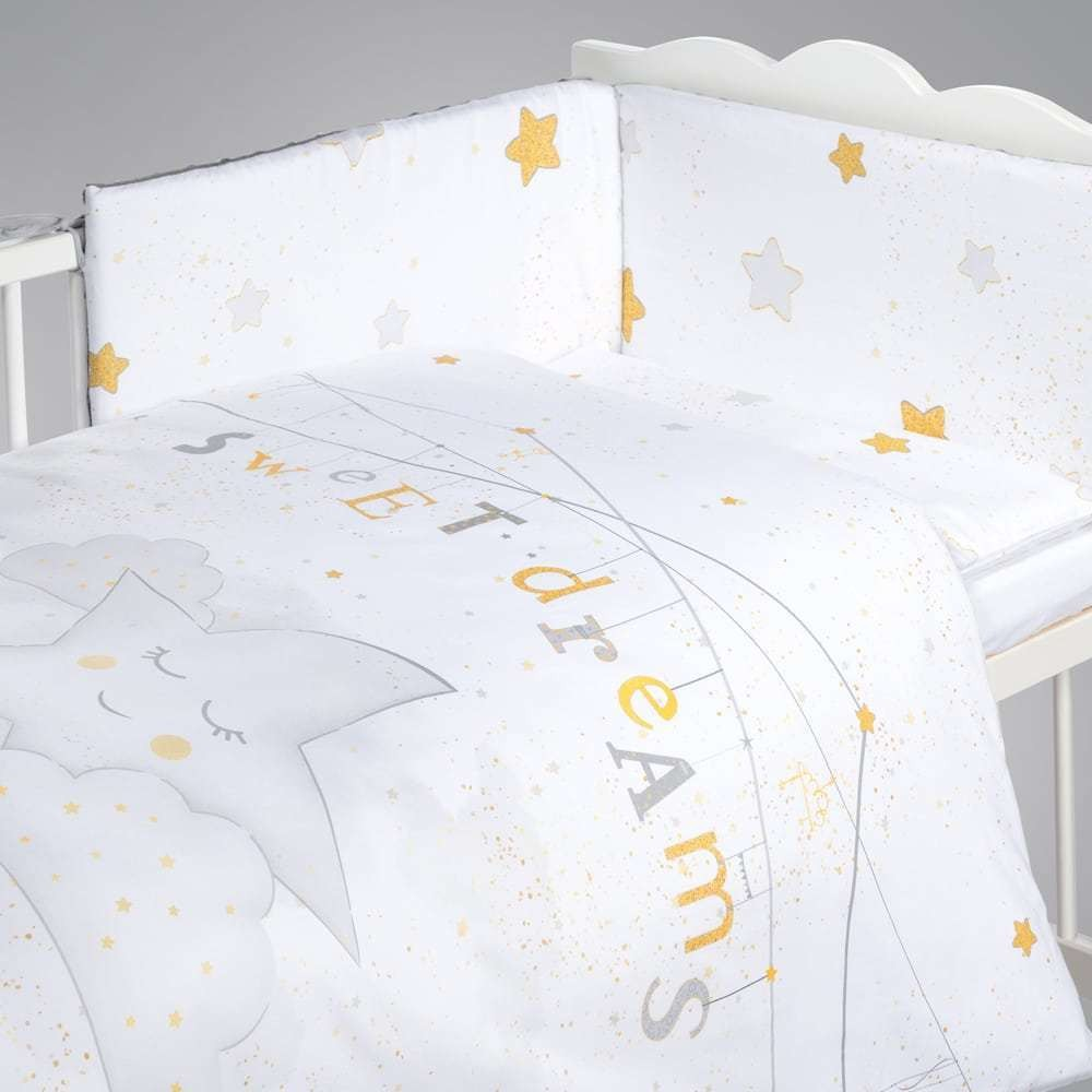 Albero Mio set lenjerie imprimata satinata 5 piese - K066 My Little Star grey-gold