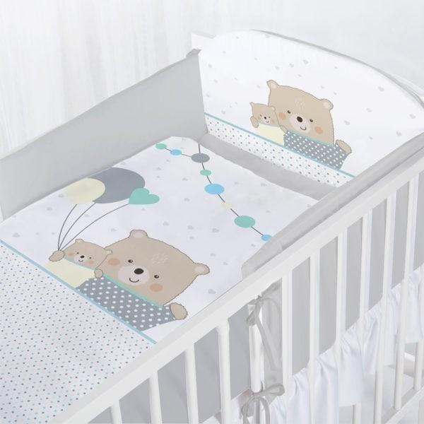 Albero Mio set lenjerie imprimata 5 piese - K097 Teddy Bears with Balloons grey
